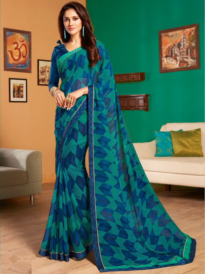 Green & Blue Color Chiffon Pretty Casual Sarees NYF-4982