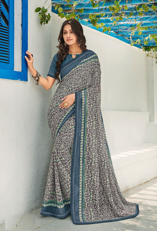 Shades of Grey Color Georgette Kitty Party Wear Saree - Idika Collection YF#11126
