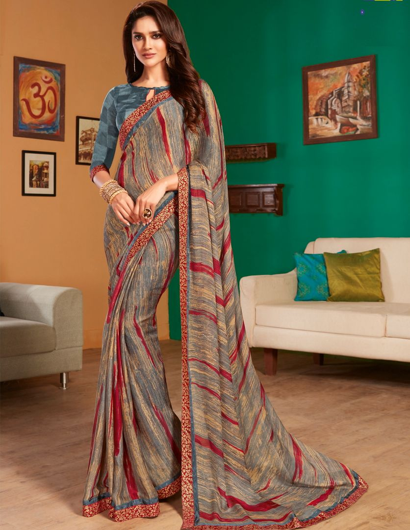 Multi Color Georgette Pretty Casual Sarees NYF-4983