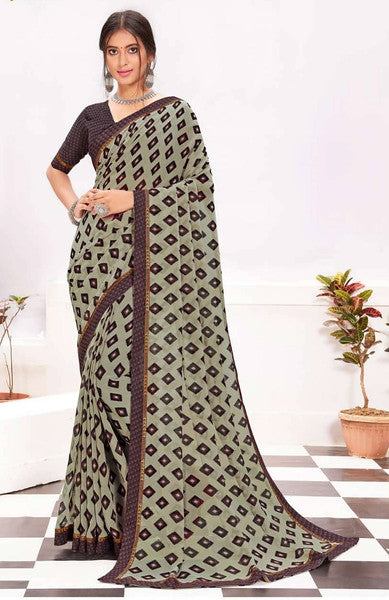 Ash and Plum Color Georgette Casual Wear Saree -  Kiah Collection  YF#11383