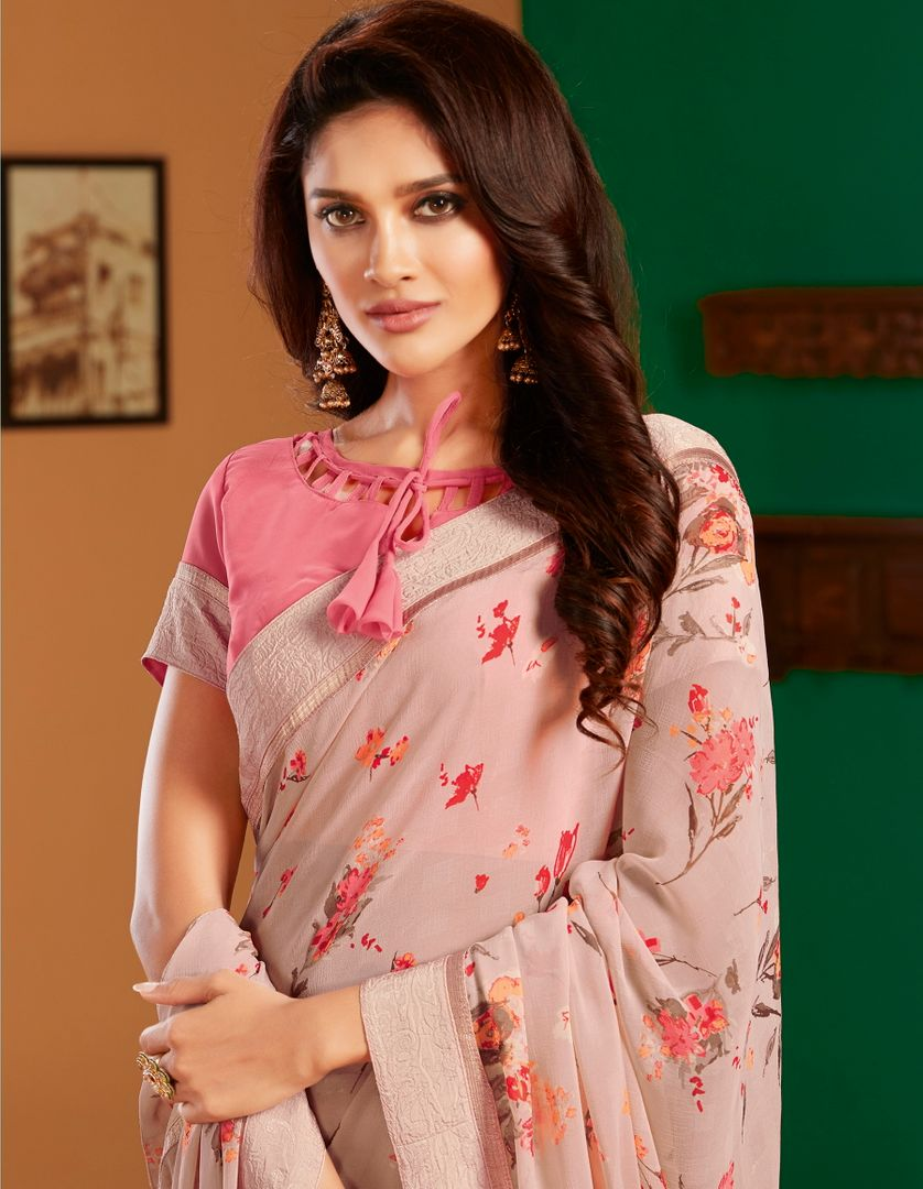Baby Pink Color Georgette Pretty Casual Sarees NYF-4984