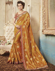 Orange Color Raw Silk Designer Festive Sarees : Yadira Collection  YF-54834