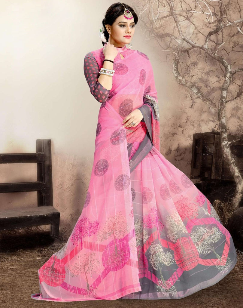 Pink Color Chiffon Kitty Party Sarees : Navnisha Collection  NYF-1144 - YellowFashion.in