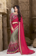 Grey and Pink  Color Wrinkle chiffon  Designer Wear Sarees : Sundari Collection  YF-37507