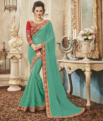 Green Color Georgette Designer Festive Sarees : Yadira Collection  YF-54835