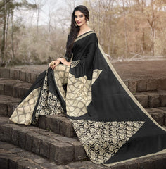 Black & Light Coffee Color Bhagalpuri Casual Function Sarees : Kalashri Collection  YF-45731