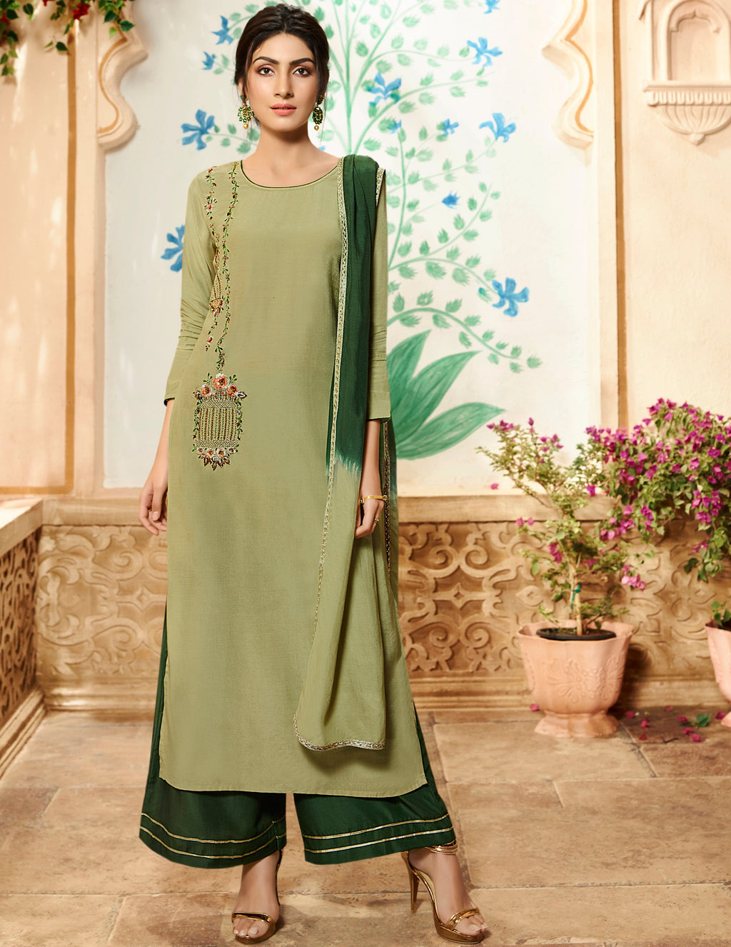 Light Olive Green Color Viscose Pretty Kurtis With Bottom & Dupatta NYF-5131