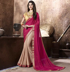 Maroon & Cream Color Jacquard Crepe Kitty Party Sarees : Krinisha Collection  YF-48140