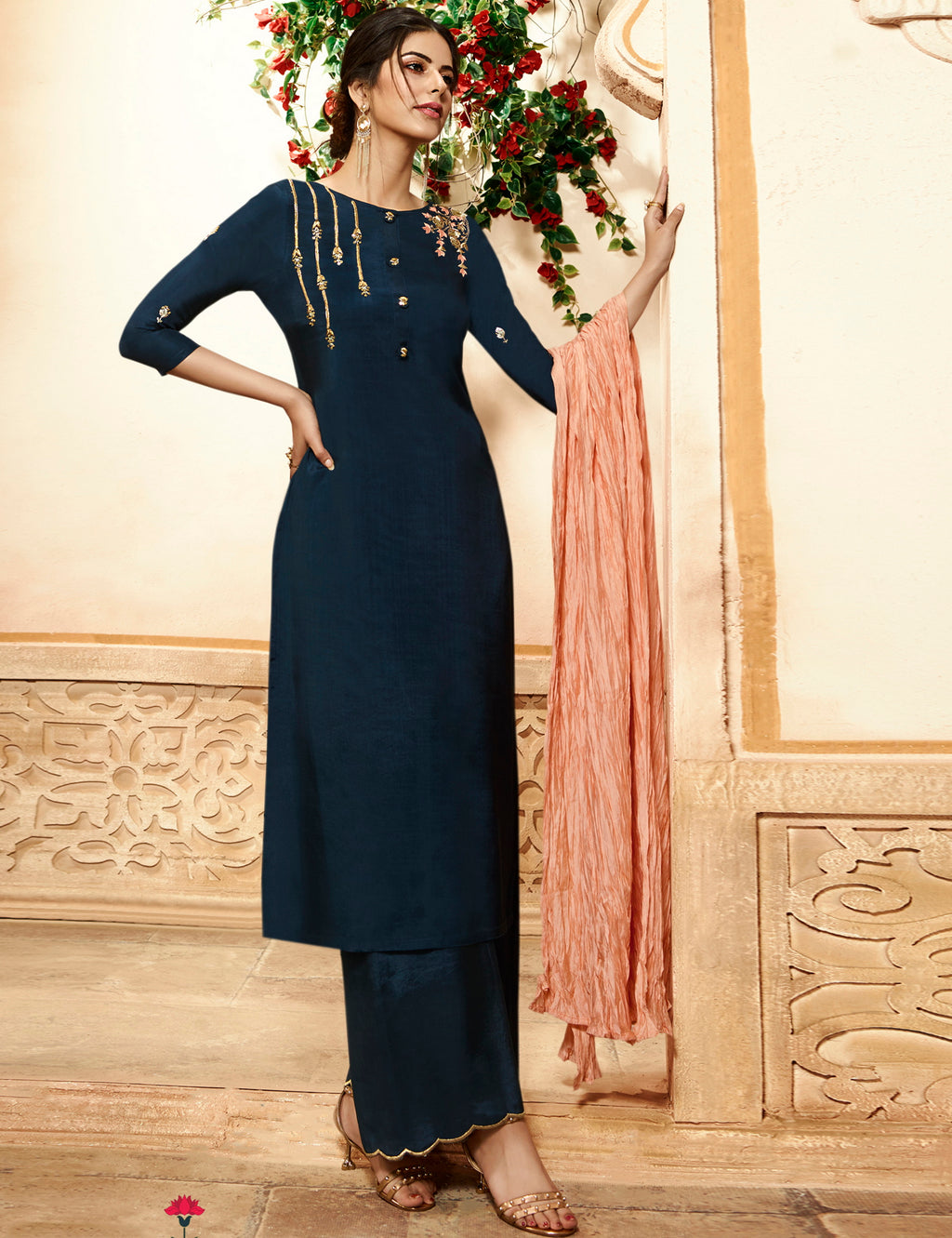 Blue Color Viscose Pretty Kurtis With Bottom & Dupatta NYF-5137