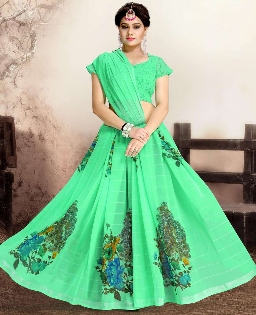 Green Color Chiffon Kitty Party Sarees : Navnisha Collection  NYF-1147 - YellowFashion.in