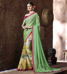 Green Color Half Wrinkle Chiffon & Half Georgette Kitty Party Sarees : Krinisha Collection  YF-48142