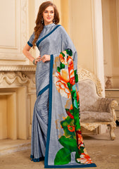 Grey Color Crepe Kitty Party Sarees : Nysha Collection YF-72105
