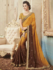Mustard Yellow & Brown Color Raw Silk Designer Festive Sarees : Yadira Collection  YF-54839