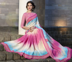 Pink & Firozi Color Bhagalpuri Casual Function Sarees : Kalashri Collection  YF-45735