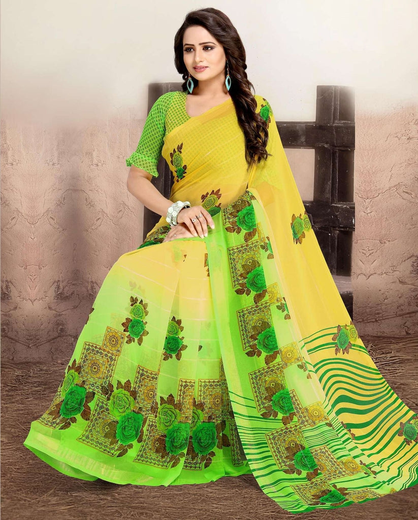 Yellow & Green Color Chiffon Kitty Party Sarees : Navnisha Collection  NYF-1149 - YellowFashion.in
