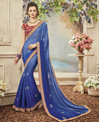 Blue Color Wrinkle Chiffon Designer Festive Sarees : Yadira Collection  YF-54841