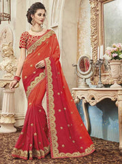 Orange & Red Color Raw Silk Designer Festive Sarees : Yadira Collection  YF-54842