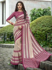 Beige & Pink Color Bhagalpuri Casual Function Sarees : Kalashri Collection  YF-45738