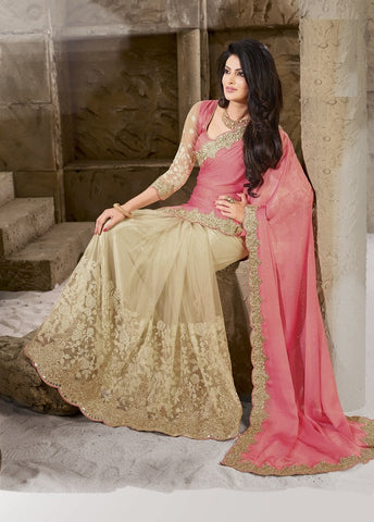 Pink and Cream Color Half shimmer Wrinkle Chiffon and Half net  Designer Wear Sarees : Sundari Collection  YF-37515