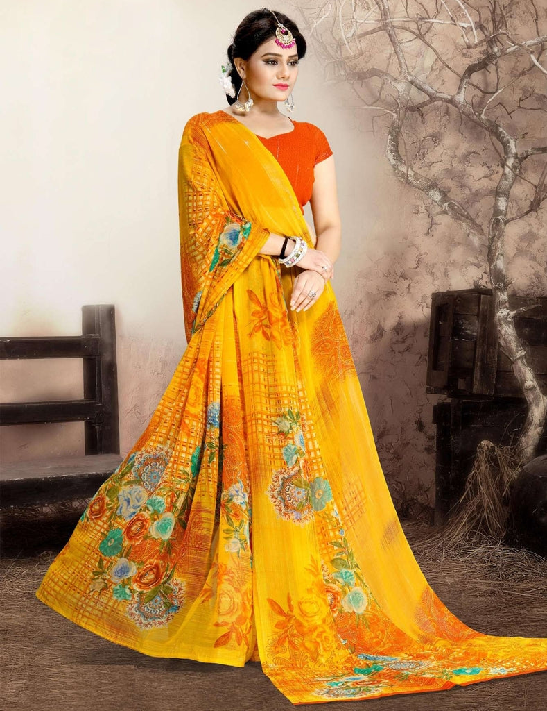 Yellow Color Chiffon Kitty Party Sarees : Navnisha Collection  NYF-1152 - YellowFashion.in