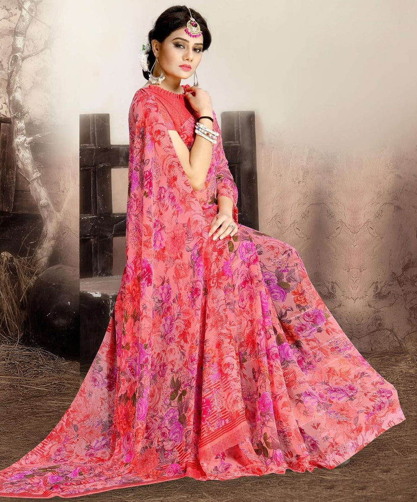 Pink Color Chiffon Kitty Party Sarees : Navnisha Collection  NYF-1153 - YellowFashion.in