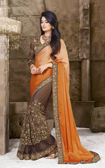 Brown and Orange  Color Half Wrinkle Chiffon and Half Net  Designer Wear Sarees : Sundari Collection  YF-37516