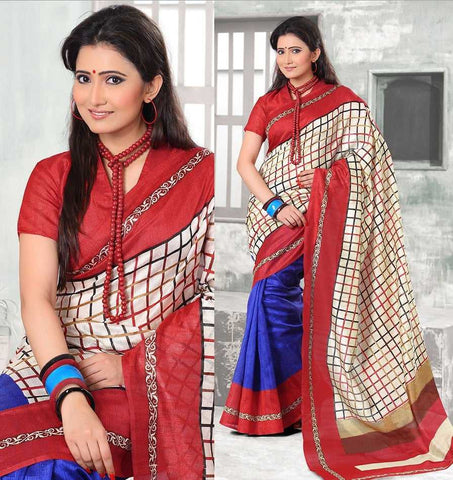 Blue and Red  Colour  Bhagalpuri  Material Sarees : Nysa Collection -  YF-17626