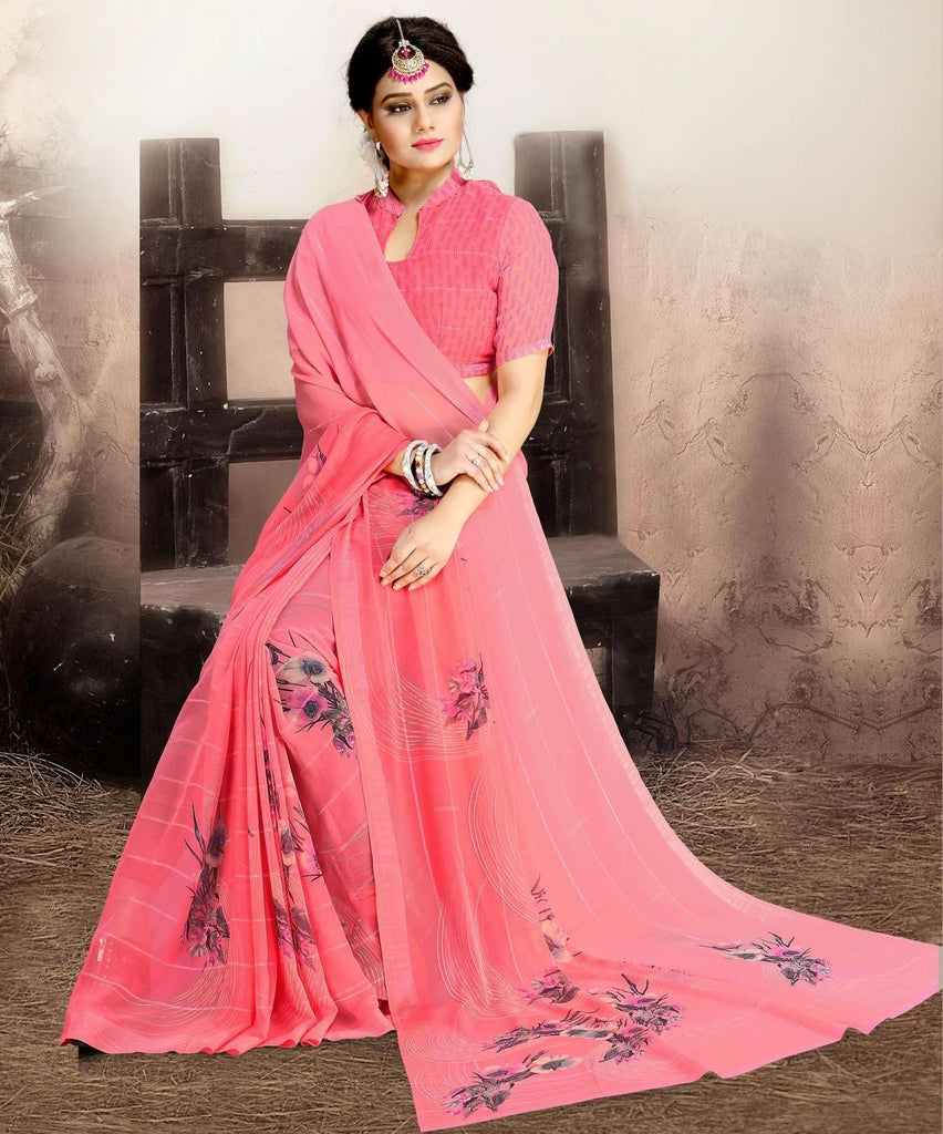 Pink Color Chiffon Kitty Party Sarees : Navnisha Collection  NYF-1154 - YellowFashion.in