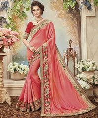 Dark Peach Color Raw Silk Designer Festive Sarees : Yadira Collection  YF-54845