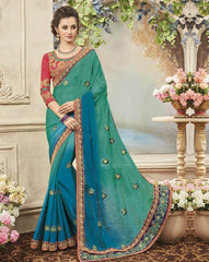 Green & Blue Color Wrinkle Chiffon Designer Festive Sarees : Yadira Collection  YF-54846