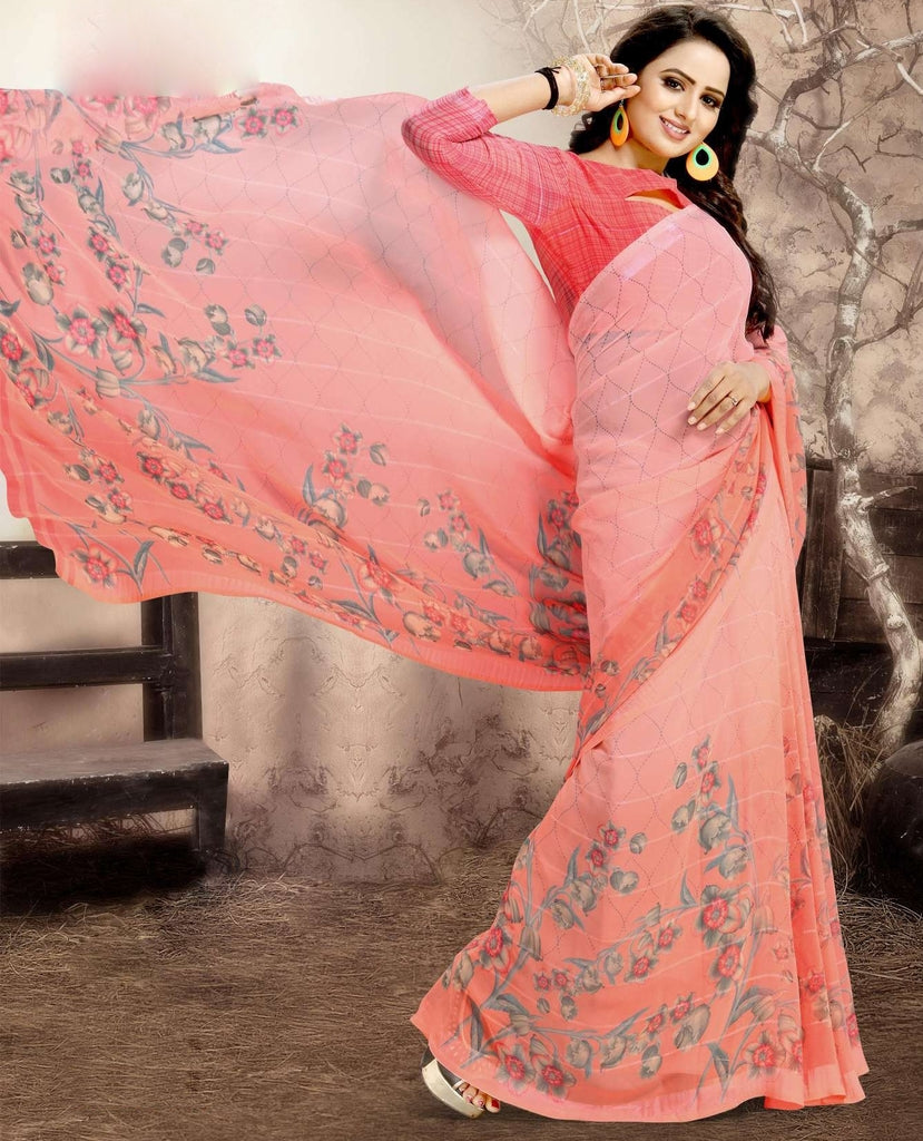 Peach Color Chiffon Kitty Party Sarees : Navnisha Collection  NYF-1156 - YellowFashion.in