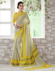 Cream & Yellow Color Bhagalpuri Casual Function Sarees : Kalashri Collection  YF-45745