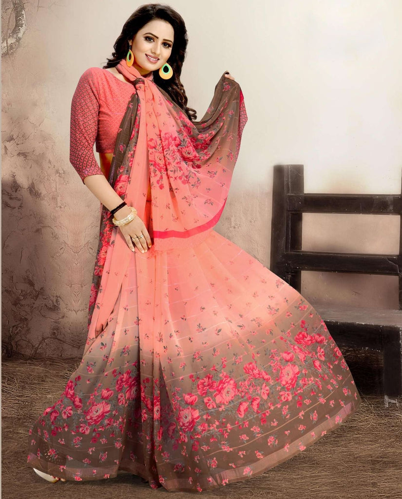 Pink Color Chiffon Kitty Party Sarees : Navnisha Collection  NYF-1159 - YellowFashion.in