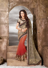 Orange Color Half Brasso and Half net  Designer Wear Sarees : Sundari Collection  YF-37524