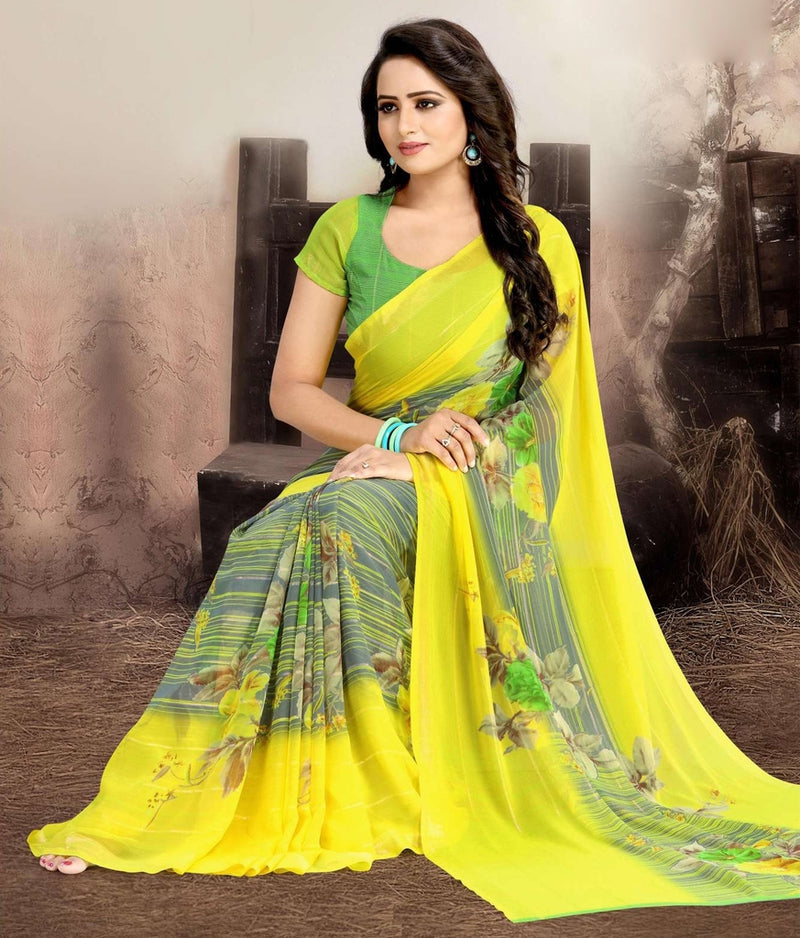 Yellow Color Chiffon Kitty Party Sarees : Navnisha Collection  NYF-1161 - YellowFashion.in