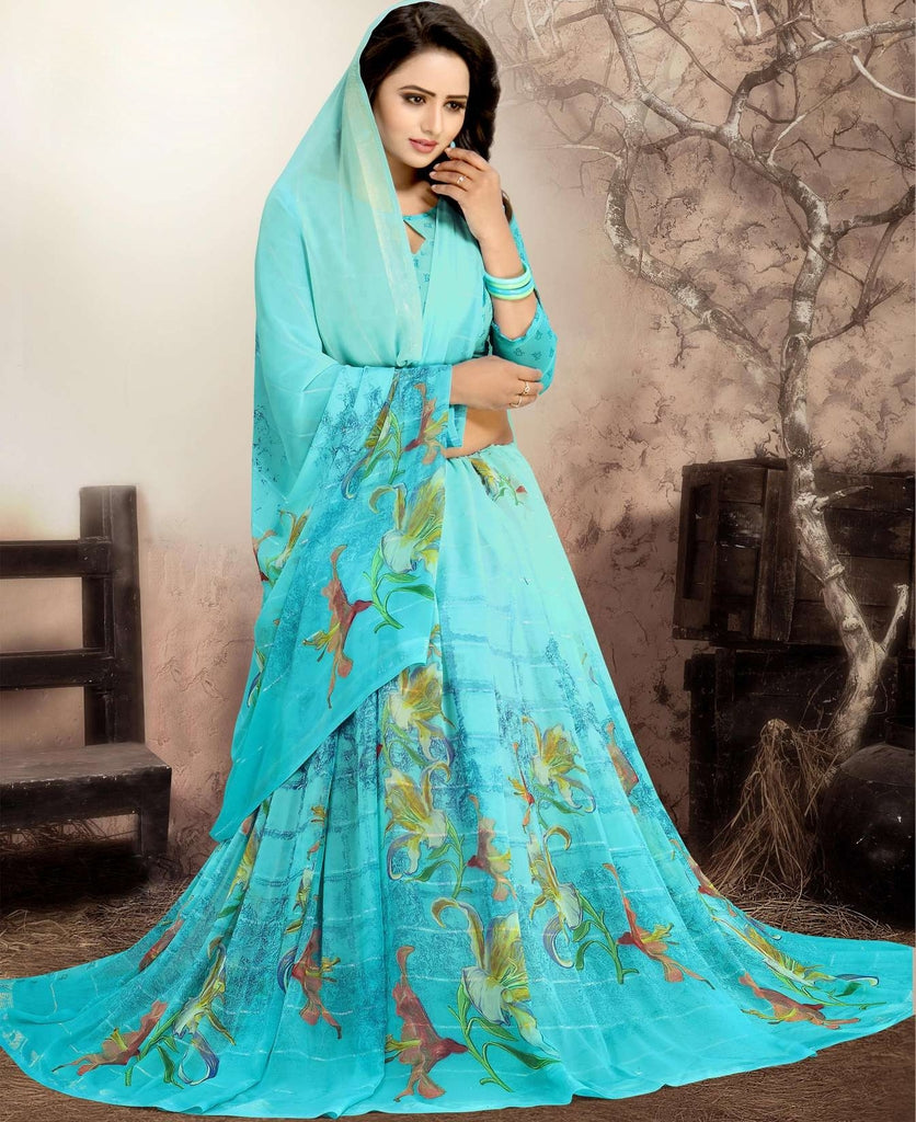 Aqua Blue Color Chiffon Kitty Party Sarees : Navnisha Collection  NYF-1162 - YellowFashion.in