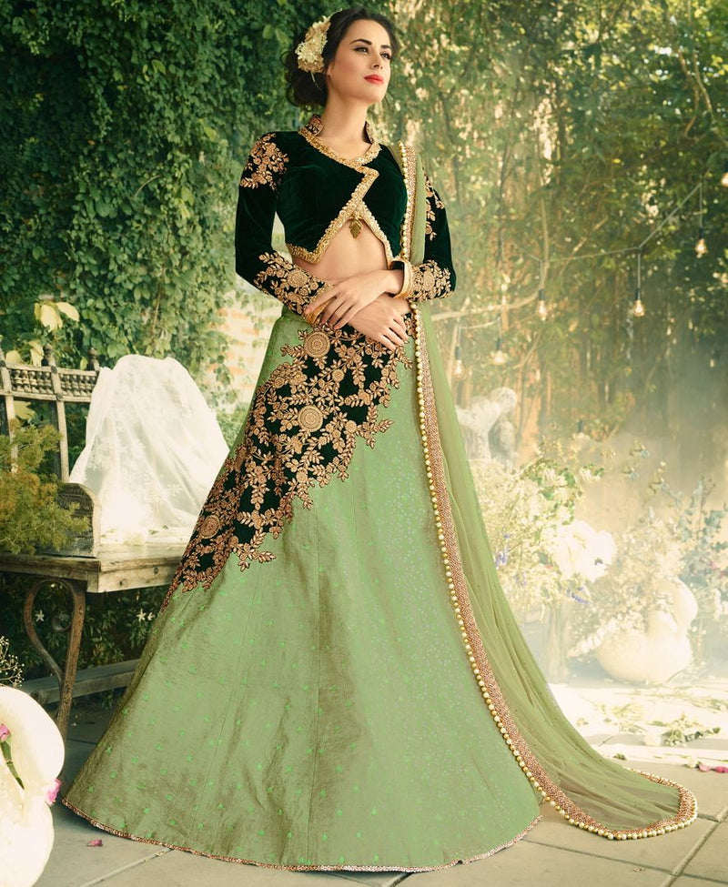 Pastel Green & Bottle Green Color Jacquard Silk & Velvet Designer Lehenga For Wedding Functions : Kreshti Collection  NYF-3283 - YellowFashion.in