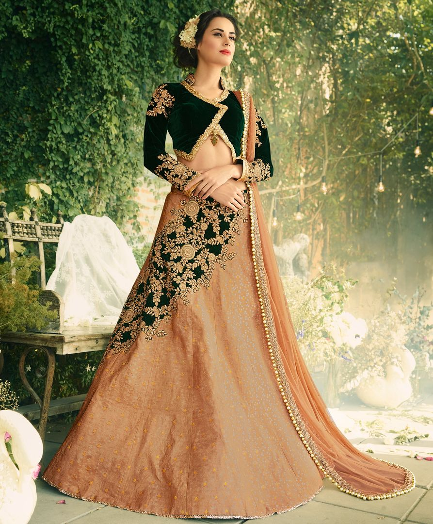 Peach & Bottle Green Color Jacquard Silk & Velvet Designer Lehenga For Wedding Functions : Kreshti Collection  NYF-3284 - YellowFashion.in