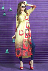 Light Mehendi Green & Red Color Rayon Readymade Party Wear Kurtis ( Sizes - 38, 40, 42, 44 ): Kriyansh Collection  YF-51711
