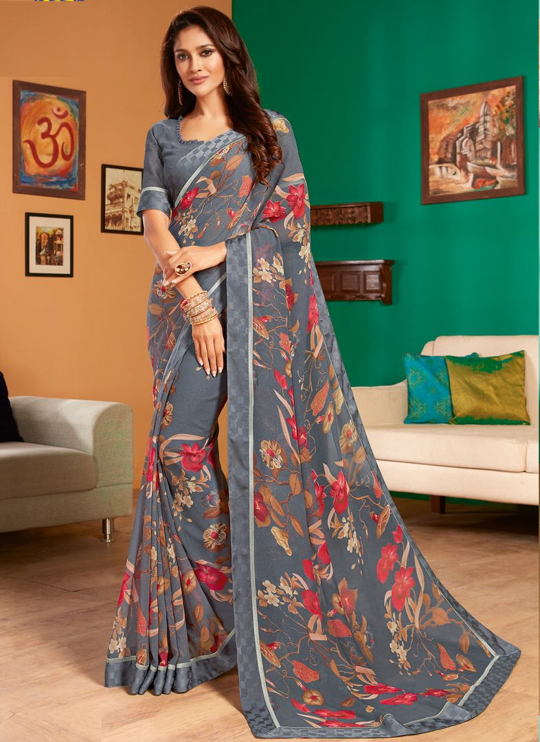 Grey Color Georgette Pretty Casual Sarees NYF-4985