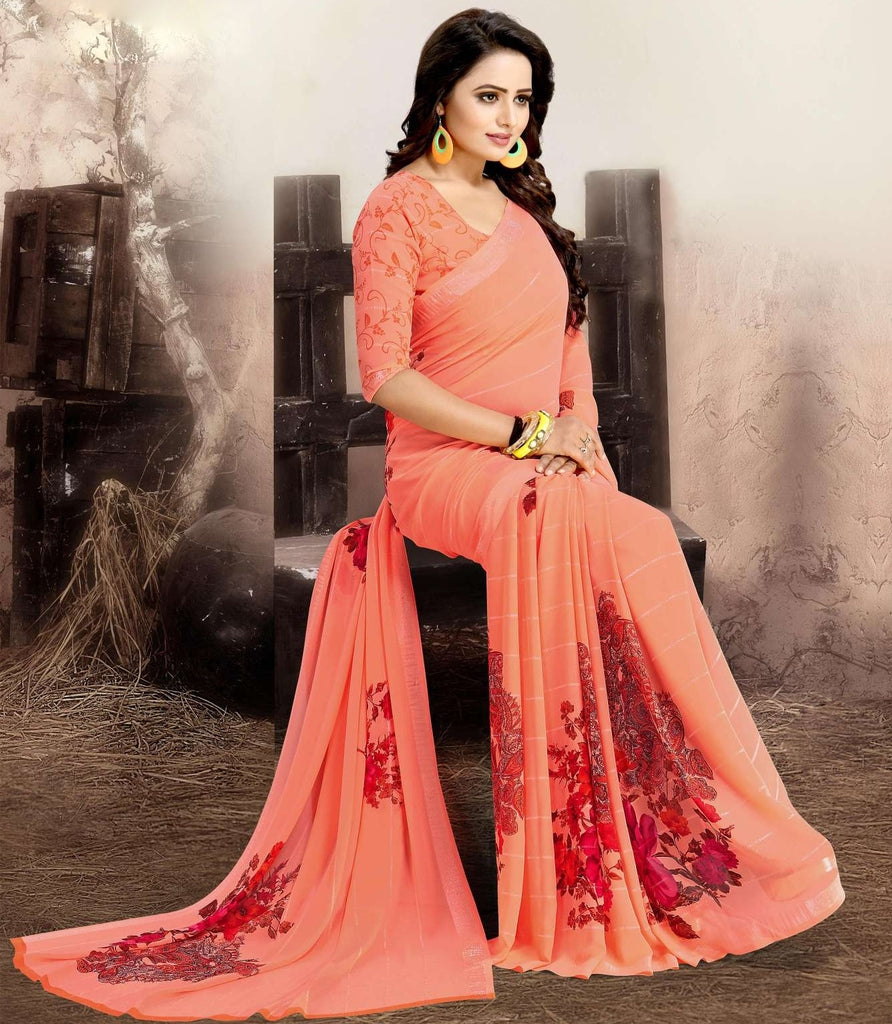 Peach Color Chiffon Kitty Party Sarees : Navnisha Collection  NYF-1164 - YellowFashion.in