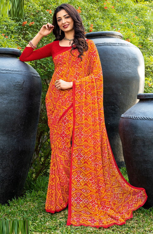 Red and Yellow Color Italian Crepe  Casual Wear Saree -  Keyaa Collection YF#10378