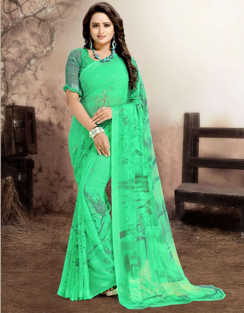 Green Color Chiffon Kitty Party Sarees : Navnisha Collection  NYF-1165 - YellowFashion.in