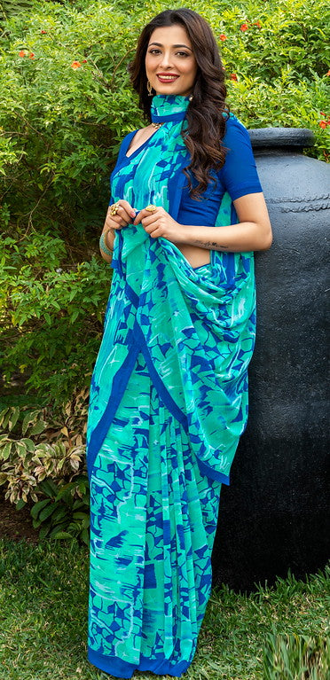 Blue Color Italian Crepe  Casual Wear Saree -  Keyaa Collection YF#10379