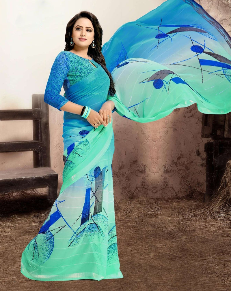 Blue & Sea Green Color Chiffon Kitty Party Sarees : Navnisha Collection  NYF-1166 - YellowFashion.in