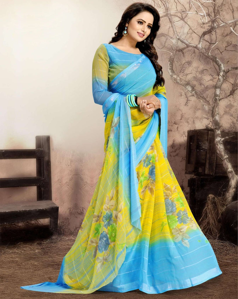 Yellow & BLue Color Chiffon Kitty Party Sarees : Navnisha Collection  NYF-1168 - YellowFashion.in