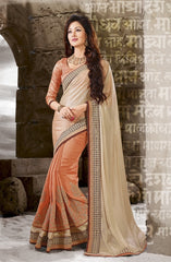 peach Color Half shimmer Wrinkle Chiffon and Half Raw silk  Designer Wear Sarees : Sundari Collection  YF-37532