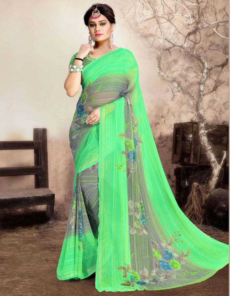 Green Color Chiffon Kitty Party Sarees : Navnisha Collection  NYF-1170 - YellowFashion.in