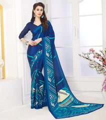 Blue Color Crepe Casual Party Sarees : Panita Collection  YF-42461