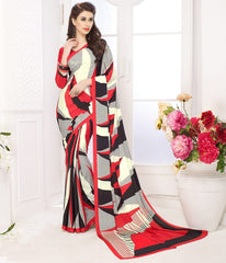 Black, Red & Cream Color Crepe Casual Party Sarees : Panita Collection  YF-42467